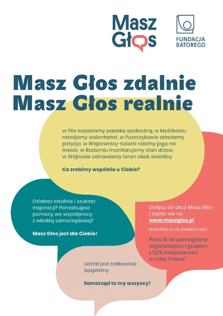 Plakat informacyjny Masz głos zdalnie masz głos realnie! Samorząd to my wszyscy! www.maszglos.pl
