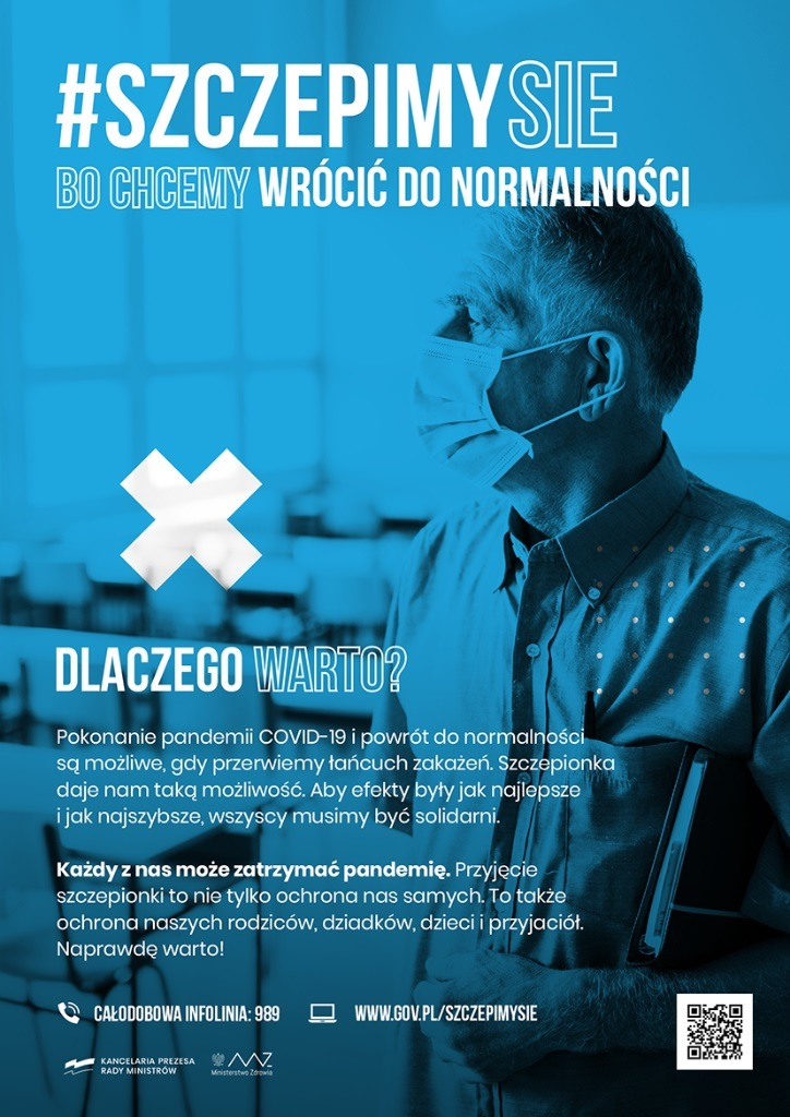 Grafika informacyjna #szczepimysię dlaczego warto? - powrót do normalności