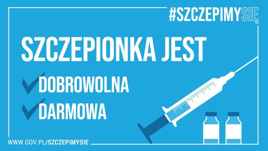 Grafika informacyjna #szczepimysię szczepionka jest dobrowolna i darmowa