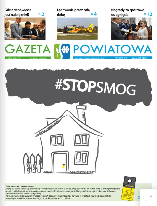 Okładka gazety powiatowej z listopada 2017r.
