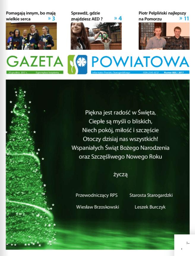 Okładka gazety powiatowej z grudnia 2017r.