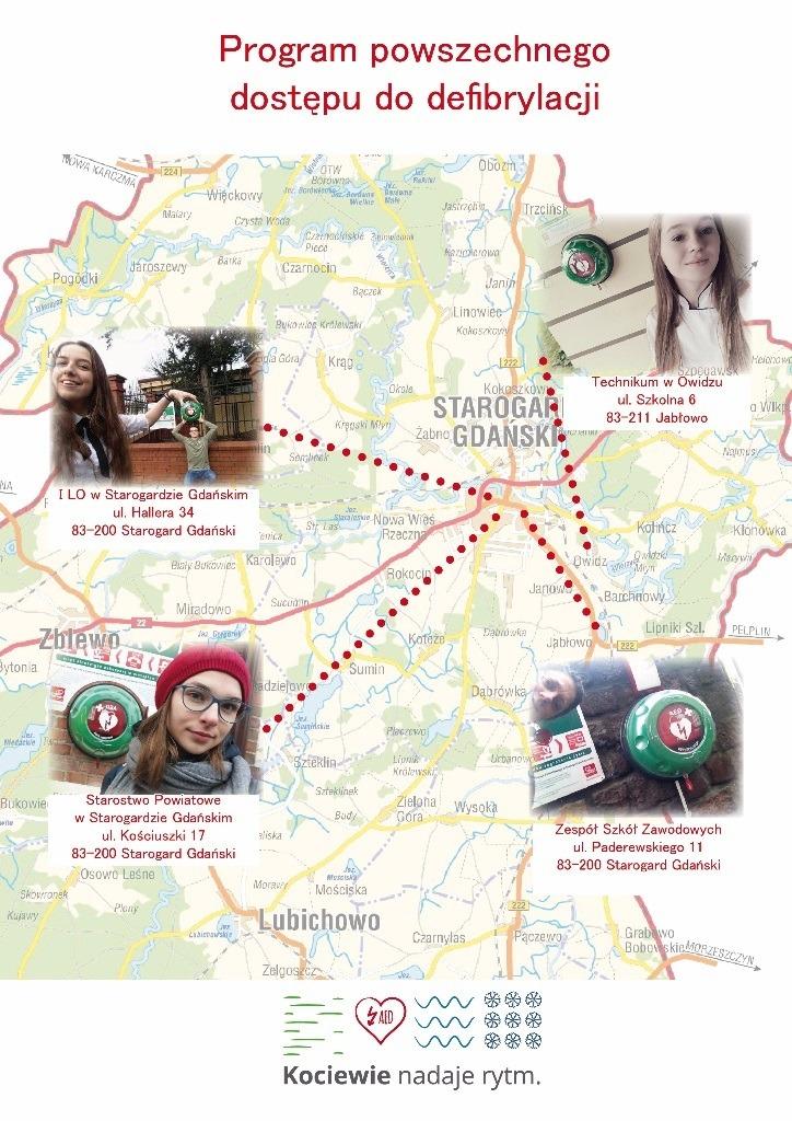 Mapa prezentująca umiejscowienie defibrylatorów w placówkach edukacyjnych (Technikum w Owidzu, I LO w Starogardzie i Zespole Szkół Zawodowych w Starogardzie) i budynku Starostwa