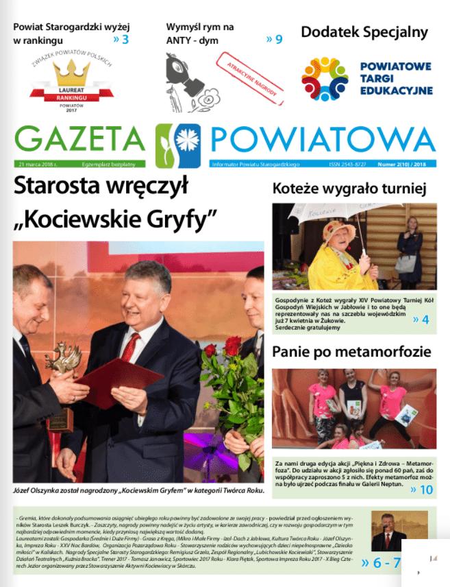 Okładka gazety powiatowej z marca 2018r.
