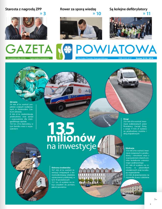 Okładka gazety powiatowej z października 2018r.