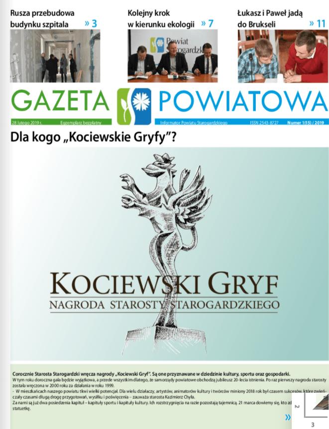 Okładka gazety powiatowej z lutego 2019r.