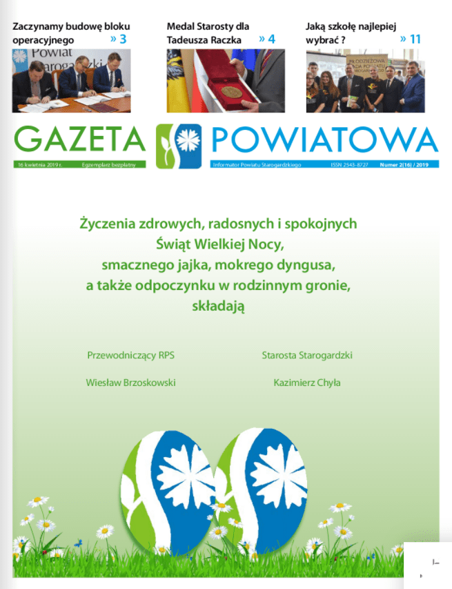 Okładka gazety powiatowej z kwietnia 2019r.