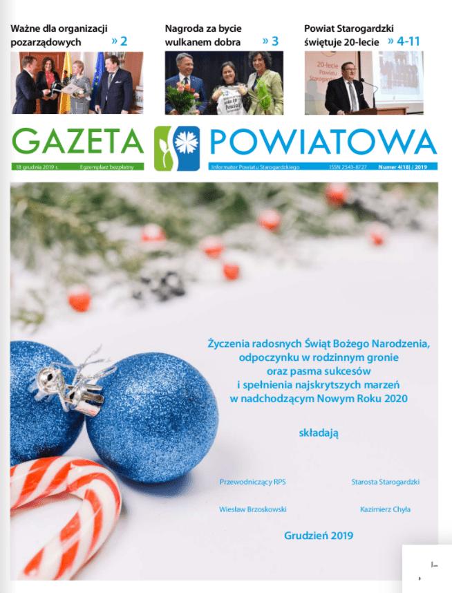Okładka gazety powiatowej z grudnia 2019r.